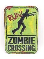 "Zombie Crossing Metal Sign 9"" x 13"""