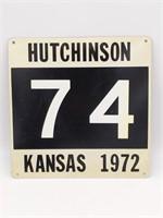 "1972 Hutchinson, Kansas '74' Metal Sign 12"" x 12"""