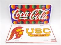 Coca-Cola and USC Trojans Novelty License Plates