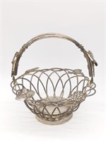 Metal Basket with Grapes and Grapeleaf Design,