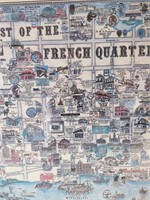 "Best of the French Quarter Framed Map 37"" x 25"""