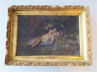 "Framed Painting of Cherub 22.5"" x 16.5"" (hole in"