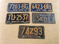 LOT OF 5 LICENSE PLATES