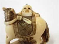 Signed Netsuke - Horse & Owner