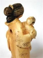 Signed Netsuke - Mother & Child