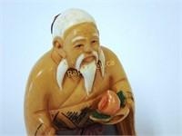 Signed Netsuke - Male Figure at Tea