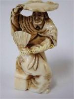 Signed Netsuke - Sitting Figure With Fan