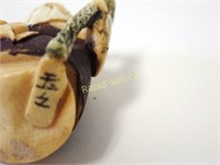 Signed Netsuke - Elder With Staff & Palm