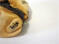 Signed Netsuke - Bearded Figure with Scroll