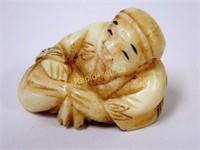 Signed Netsuke - Compact Man with Money Bag