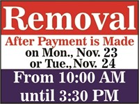Removal Schedule, Mon. or Tue. From 10:00-3:30