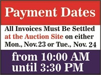 Payment Due on Monday or Tuesday, Nov. 23 & 24