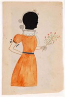 American folk art hollow-cut silhouette (c.1830) with watercolor, from the collection of Dan Wagoner, Romney, WV