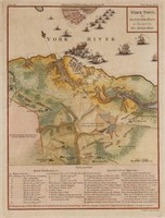 Yorktown surrender map, engraved by Thomas Conder for William Gordon's history of the United States, published in 1787