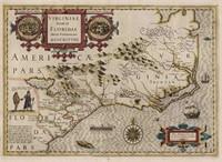 """JODOCUS HONDIUS (DUTCH. 1563-1612) """"Virginiae Item et Floridae"""" map, from the Gaunt Collection"""