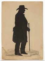 Mid-19th century cut-and-pasted silhouette of Sam Houston, identified in period script verso