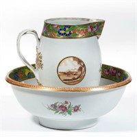 Rare Chinese Export wash basin and pitcher
