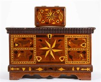 Fine folk art inlaid boxes from the M. C. Grove estate, Frederick, MD