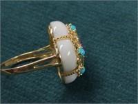 14K Amethyst & Turquoise Ring