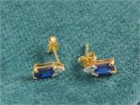 10K Sapphire/Diamond Earrings