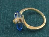14K Diamond Ring w/Blue Stone