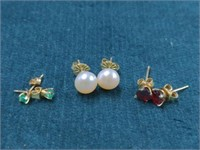 3 Pr. Gold Earrings-10K & 14K