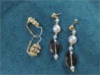 2 Pr. 14K Pearl, Smoky Quartz Earrings