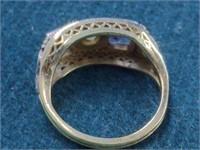 14K Filigree Diamond & Sapphire Ring