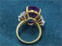 18K Large Amethyst & Diamond Cocktail Ring