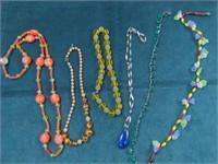 6 Pcs. Vintage Glass Necklaces