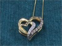 10K Diamond Heart Pendat & Chain