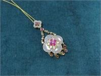 14K Ruby, Diamond & MOP Necklace