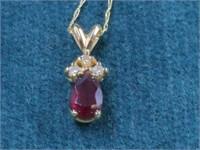 14K Garnet & Diamond