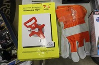 Group Lot Of Gloves. Tape Measure