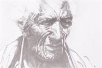 Framed Original Etching of Elderly Indian Man