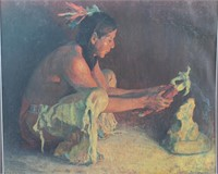 Native American Indian With Corn Framed Print