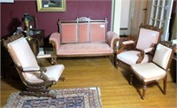 4 pc. Eastlake Parlor Set, Walnut.