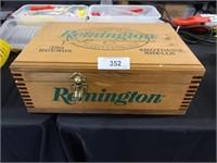 REMINGTON AMMO BOX FULL OF GUN CLEANING SUPPLIES