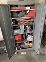 Sandusky metal cabinet on wheels, contents