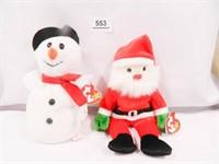 Snowball and Santa Beanie Babies