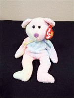 Ty 2K, 1999 Holiday Teddy, Groovy, White Spangle