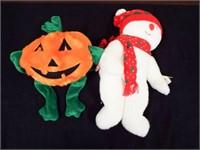 Beanie Buddies Pumkin and Snowboy