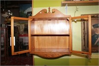 Vintage Glass Front Oak 2 Shelf Wall Cabinet