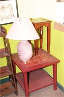 Square End Table, Small Lamp Table & Ceramic Lamp