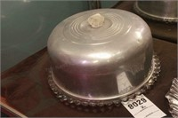 Glass Cake Plate W/ Metal Cover & footed plates