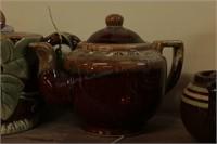 Brown Stoneware Pots - 2 Pc