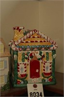 Hand painted house Cookie Jars - 2 Pc