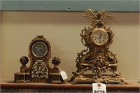 Intricate Brass  Clocks - 2 Pc