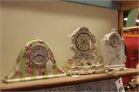 Floral Pattern Porcelain Clocks - 3 Pc
