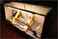 slant front Glass Display Case W/Sliding Doors
